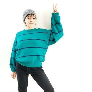Eddie Bauer Teal Blue Stripe Boyfriend Sweater